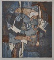 Blått interiør, 28x30, 2000,-